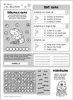 English abc animals for kids | Jellyfish printables