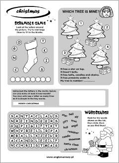 christmas worksheets for kids learning english