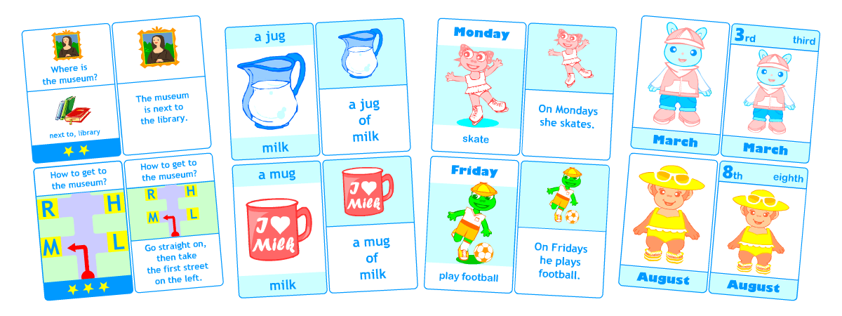 Flashcards for kids learning English | Printable self