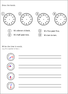 asking and telling the time in english printable resources. Black Bedroom Furniture Sets. Home Design Ideas