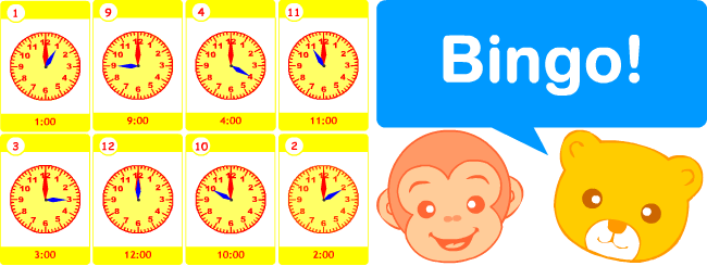 image relating to Telling Time Printable Game known as Flashcard video games for youngsters mastering English Bingo! Telling