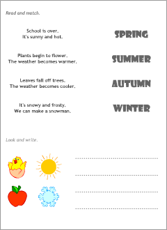 Four seasons in English | Printable resources