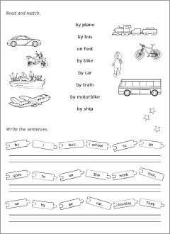 ways of transport in english printable resources. Black Bedroom Furniture Sets. Home Design Ideas