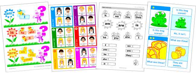 Verb be | Set of printables for kids learning English grammar