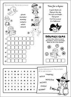 Halloween worksheets for learning English
