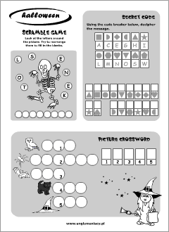 Halloween worksheets for ESL kids