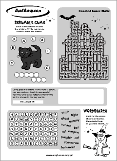 Halloween worksheets for kids learning English