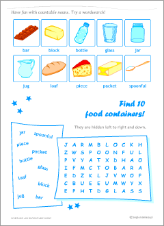 English nouns: worksheets for kids
