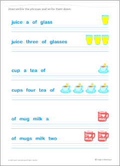 English nouns: worksheets for learning