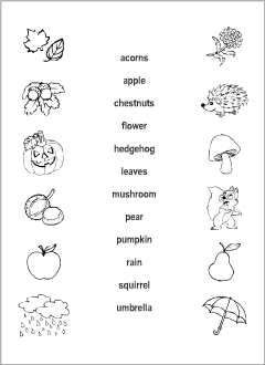 graphic about Autumn Trivia for Seniors Printable titled Autumn vocabulary for youngsters studying English Printable