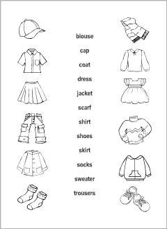 Clothes vocabulary for kids learning English | Printable resources