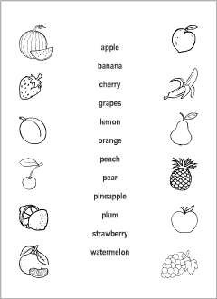Fruits vocabulary for kids learning English | Printable resources