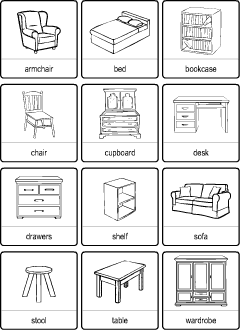 Furniture Vocabulary For Kids Learning English Printable