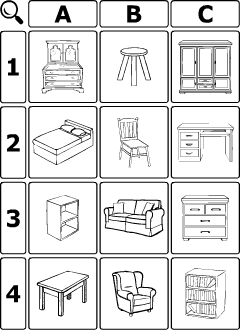 Furniture Vocabulary For Kids Learning English Guessing Hangman Game