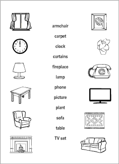 Living room vocabulary for kids learning english for Furniture quiz questions
