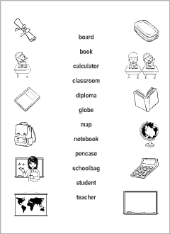 School vocabulary for kids learning English | Printable resources