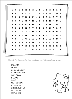 photo about School Word Search Printable named Wordsearch puzzles Printables for ESL academics and little ones