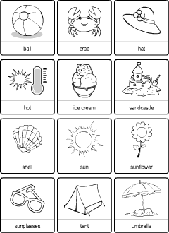 Summer vocabulary for kids learning English | Printable resources