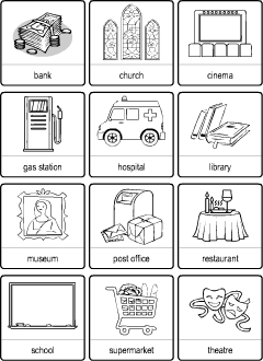 town vocabulary for kids learning english  printable resources worksheets for teaching english to kids