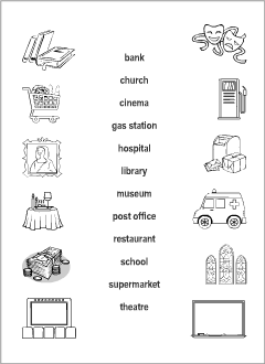 Town vocabulary for kids learning English | Printable resources