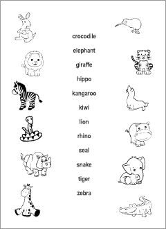 wild animals vocabulary for kids learning english printable resources. Black Bedroom Furniture Sets. Home Design Ideas