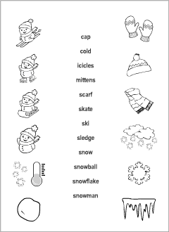 winter vocabulary for kids learning english  printable resources esl resources for teachers and students